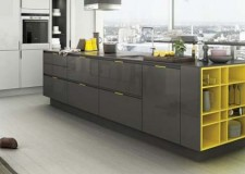 grey kitchen idea with yellow accent in a nice modern urban apartment