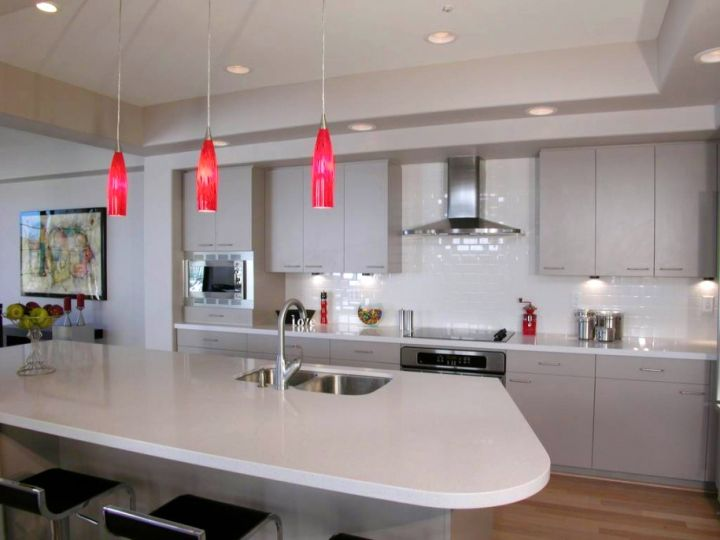 hanging kitchen light in red