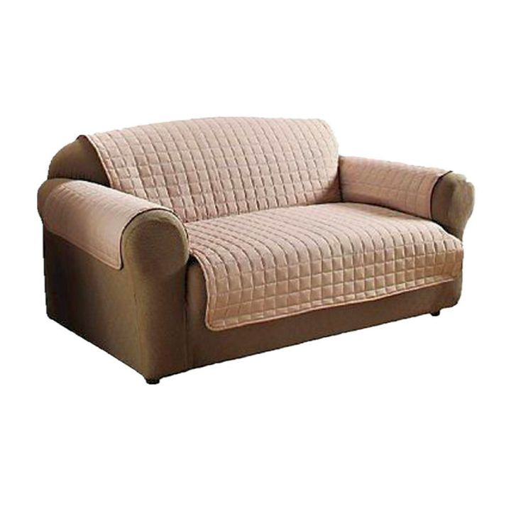high end slipcover in cream and chocolate
