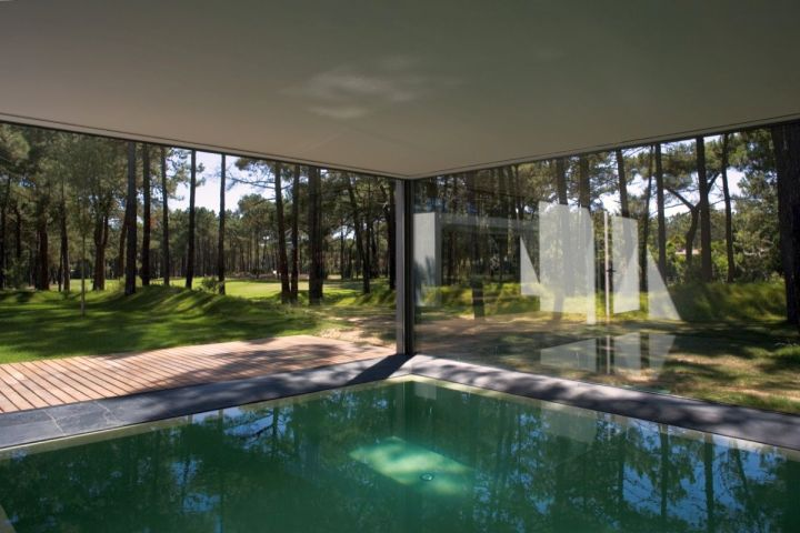 homes with indoor pools outlooking the forest
