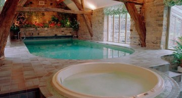 homes with indoor pools with exposed beams ceiling