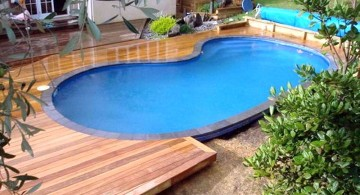 in ground small pool ideas with wooden deck