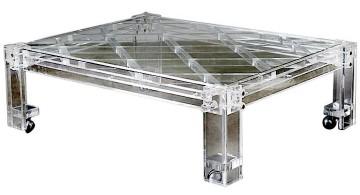 industrial acrylic cocktail table