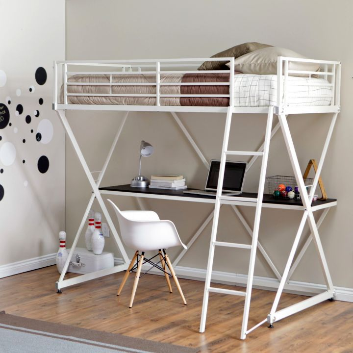 industrial in white desk bed for adults