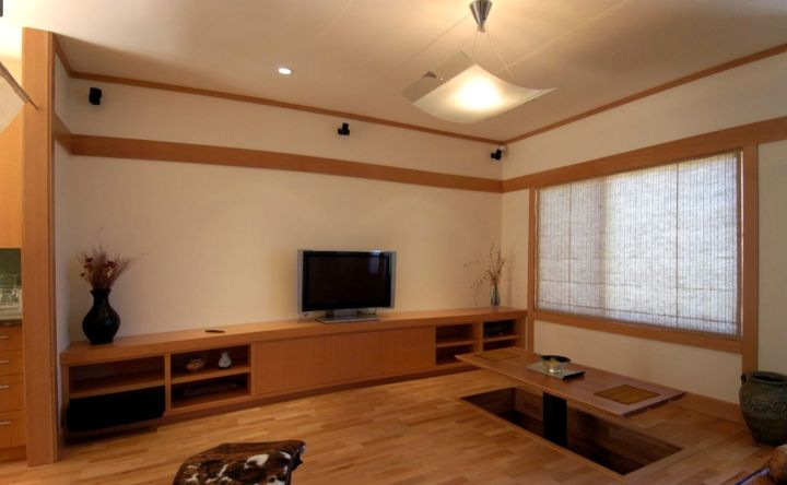 japanese theme room living and dining area