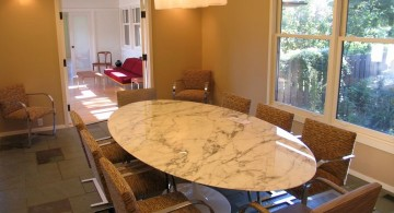 large oval granite dining room table