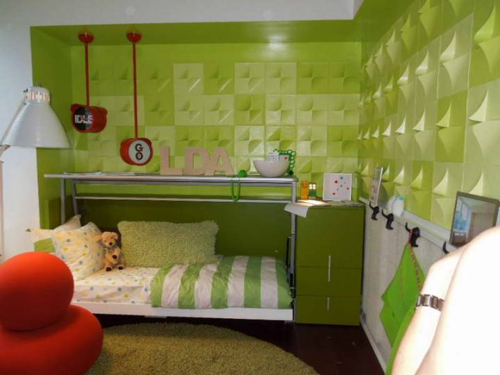 lime green bedroom idea for narrow space