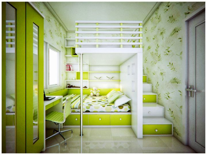 lime green bedroom with bunk beds