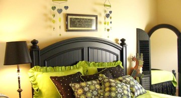 lime green bedroom with full size mirror