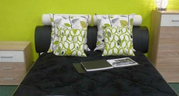 lime green bedroom with wall panel decor