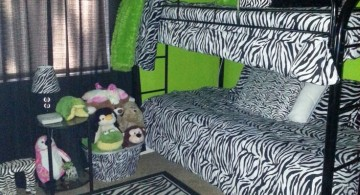 lime green bedroom with zebra pattern bedding