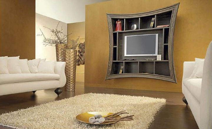living room tv ideas mounted on unique shelf