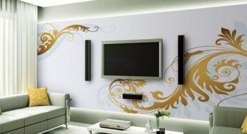 living room tv ideas with beautiful wall decal