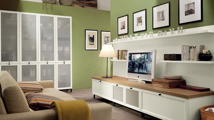 living room tv ideas with green walls