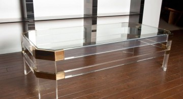 long and low square lucite coffee table