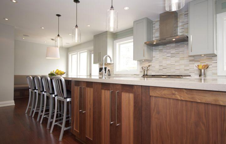 long and minimalist hanging kitchen light