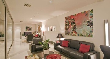 long living room in black and red