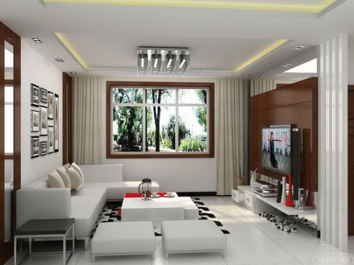 long living room in white