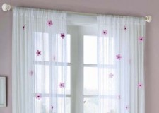 lovely white sheer curtains privacy design with purple floral print for girls bedroom interior