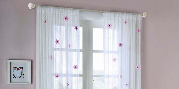 Lovely white sheer curtains privacy design with purple for Sheer drapes privacy