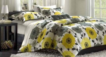 lovely yellow and grey bedroom design idea featuring floral bedding