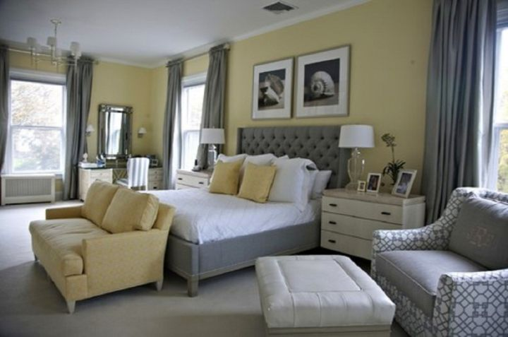 lovely yellow gray bedroom