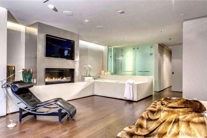 luxurious bathroom with modern glass shower