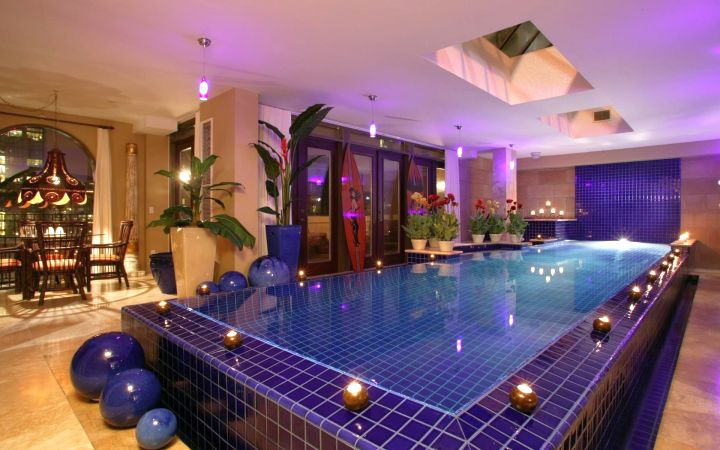 luxurious enclosed swimming pool