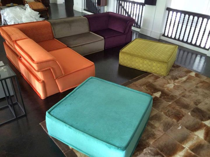 mah jong sofa in color blocks