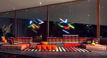 mah jong sofa in dark stripes