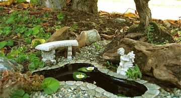 mini japanese garden under a tree