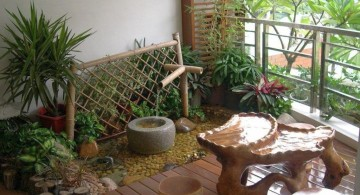 mini japanese garden with bamboo fountain