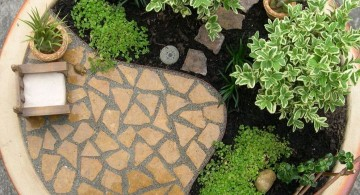 mini japanese garden with black sand