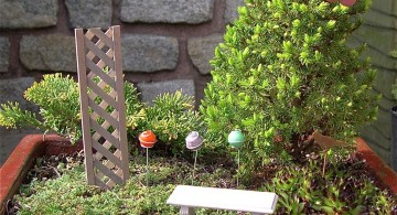 mini japanese garden with garden chair