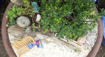 mini japanese garden with white sand