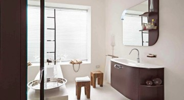 minimalist Asian inspired brown bathrooms