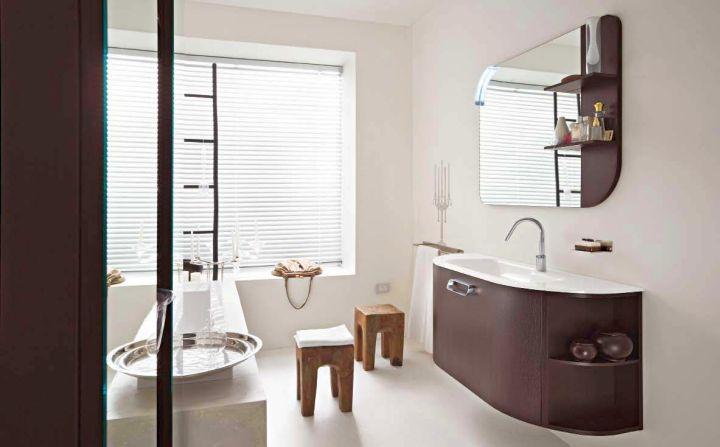 minimalist Asian inspired brown bathrooms