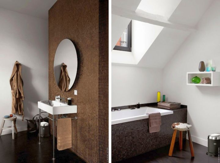 minimalist brown bathrooms