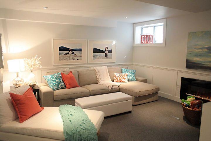 minimalist modern basement for small basements