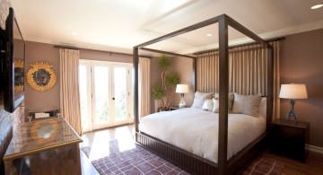 minimalist modern four poster bed in earth tones