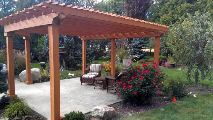 Modern Attached Pergola Design : Modern Attached Pergola Design : Stamped Concrete Patio with Pergola