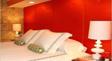 minimalist red bedroom walls