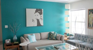minimalist turquoise living room decor wall panel