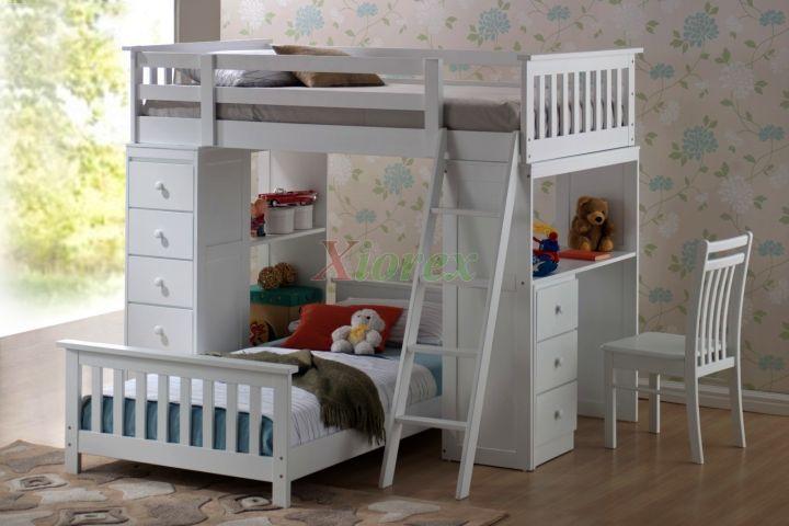 minimalist white loft bed with desk