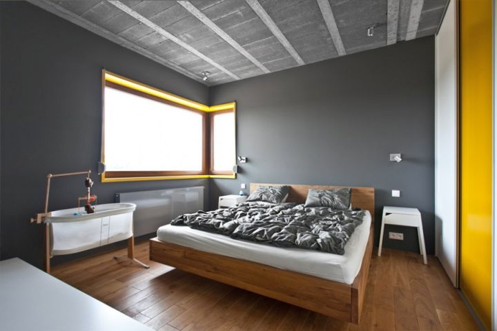 minimalist yellow gray bedroom