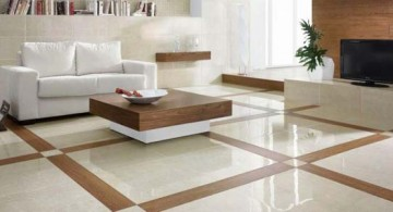 modern and fancy white patterned floor tiles for living room interior design idea