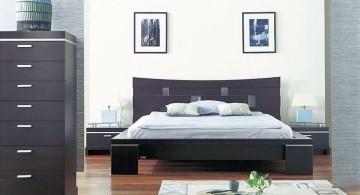 modern asian inspired bedroom in monochrome
