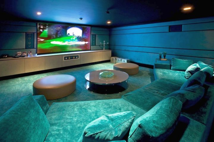 modern basement in blue light