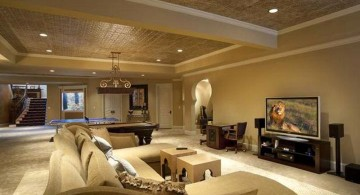 modern basement in gold and beige