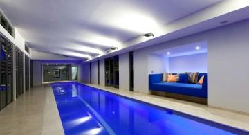 modern basement indoor lap pool